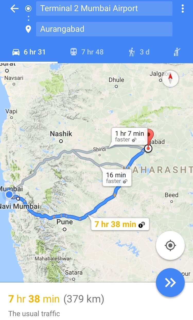 Mumbai to Aurangabad route 2